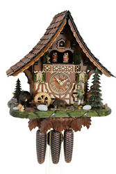 cuckoo clock hettich black forest 8 day original german  music wood hunter new