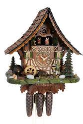 cuckoo clock hettich black forest 8 day original german  music wood hunter new