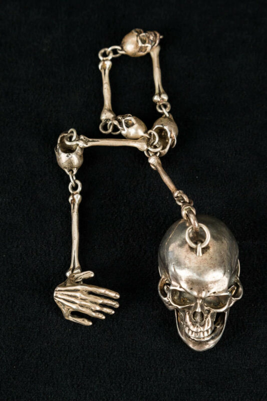 Antique Silver Skull Fob Chain Gothic style mock clock