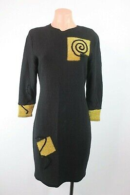 80s Golf Attire (Steve Fabrikant Medium Santana Knit Wool Blend Sweater Dress Black Golf VTG)