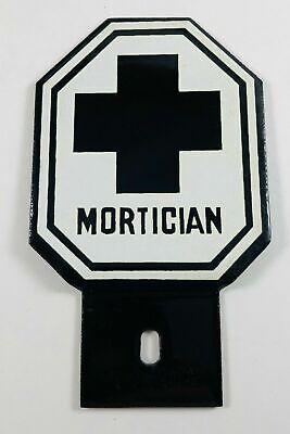 ANTIQUE Mortician Enamel License Plate Topper / Funeral
