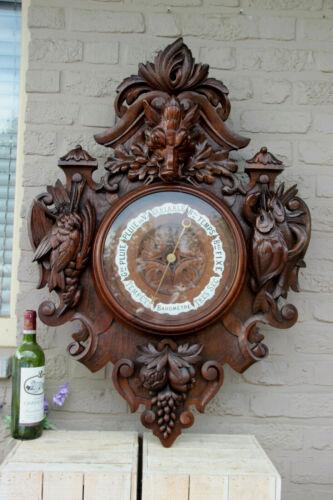 """HUGE 38.5"""" Black forest wood carved hunt trophy Birds fish barometer rare"""