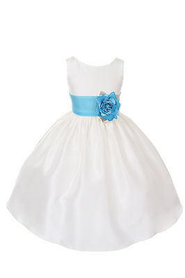 Poly Silk Flower Girl Pageant Dress w/Sash and Flowers (Infant-14 years)-IV/AQUA - Ivory And Turquoise Flower Girl Dresses