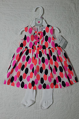NEW CARTERS BABY GIRLS 2 PIECE SET DRESS WITH TIGHTS VARIOUS SIZES 2 Piece Dress Tights