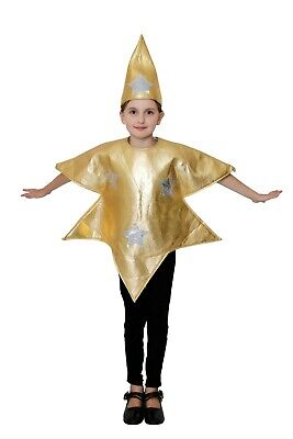 Kids Christmas Gold Star Costume Boys Girls Nativity Play Fancy Dress Outfit