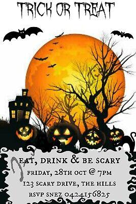 Diy Halloween Birthday Invitations (DIY Print Custom HALLOWEEN SCARY TRICK OR TREAT Birthday Party)