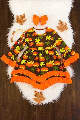 Girls Ruffle Dress (NEW Boutique Girls Pumpkin Girls Long Sleeve Ruffle)