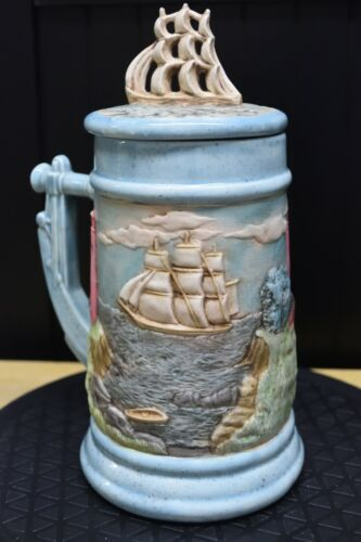 """Sailing Tall Ship Beer Stein with Flat Lid 9"""" Schooner Sailboat Boating"""