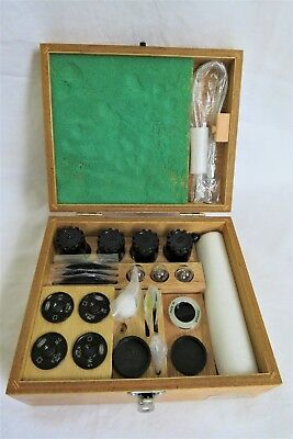 Olympus Microscope Objective Set 100 40 20 10 4 Lenses 3 Bulbs Case Full