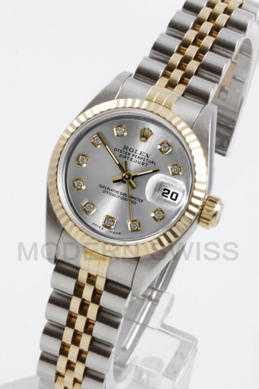 Rolex Ladies Datejust Gold & Steel Silver Diamond Fluted Jubilee 2tone Perpetual