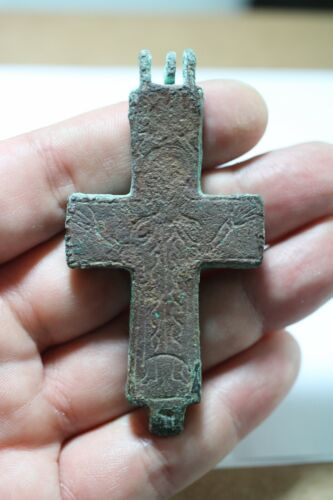 ZURQIEH -as18098- BYZANTINE. HUGE BRONZE CROSS. 2 LAYERS. 800 - 1000 A.D