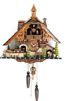 cuckoo clock black forest quartz german music quarz chalet moving train new top Black Forest Chalet Cuckoo Clock