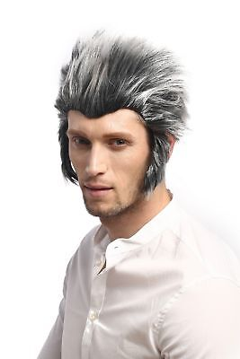 Wig Men's Carnival Halloween Werewolf Wolf Gray Black Backcombs Sideburns (Grey Sideburns)