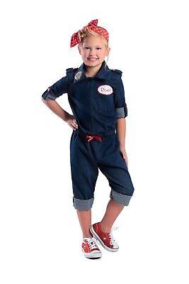 Girl Mechanic Costume (We Can Do It Rosie the Riveter 1940s Mechanic Uniform Jmpsuit World War 2 Icon)
