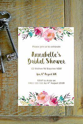 Printable Personalised Bridal Shower Baby shower INVITATION - boho - Printable Bridal Shower Invitations