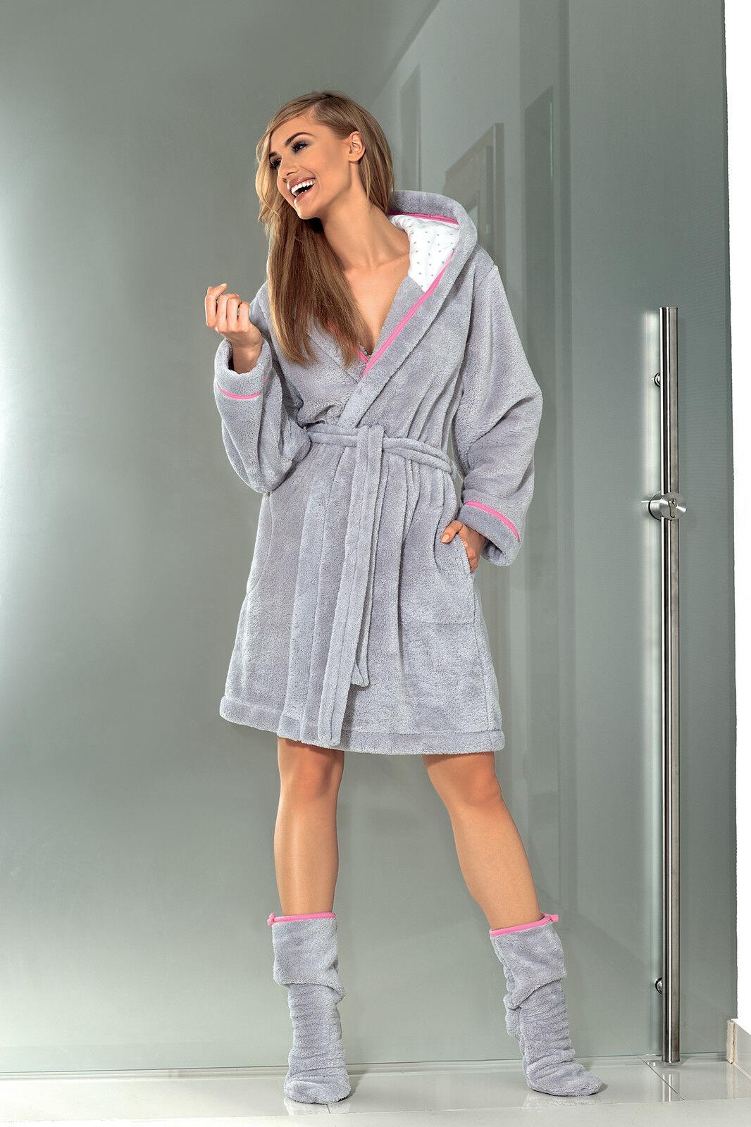Womens Bath Robe Hooded Housecoat Dressing Gown Bathrobe with Hood ...