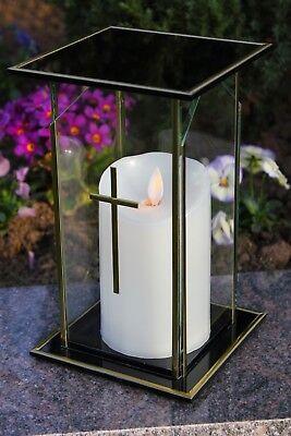 Grablicht 21cm Grablaterne LED Lampe Grableuchte Glas Grabschmuck Kerze 13
