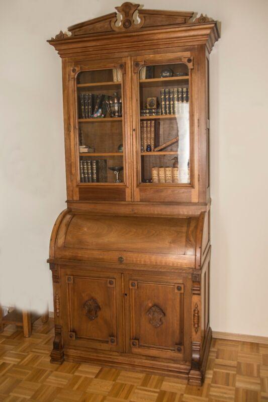 VICTORIAN WALNUT CYLINDER ROLL DESK AND BOOKCASE