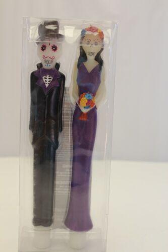 "Pier 1 Halloween Skeleton Wedding Couple Bride & Groom Purple 10"" Taper Candles"