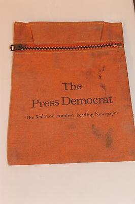 Vintage 1970's Press Democrat Newspaper Carrier Canvas coin-Bag Rare