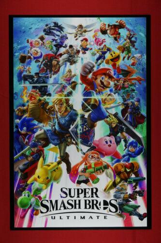 Super Smash Bros Ultimate Nintendo Game Pikachu Mario Poster 24X36 New   SSBU