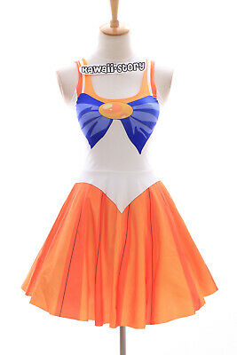 SK-01 Gr. S-M  Sailor Moon Venus orange gelb Kleid Cosplay Manga Kostüm Anime