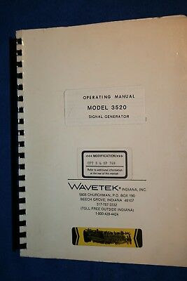 Wavetek Signal Generator Model 3520 Operating Manual