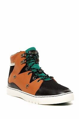 Creative Recreation Leather Spero Mesh High Top Sneaker Black Tan Green 7 5 New