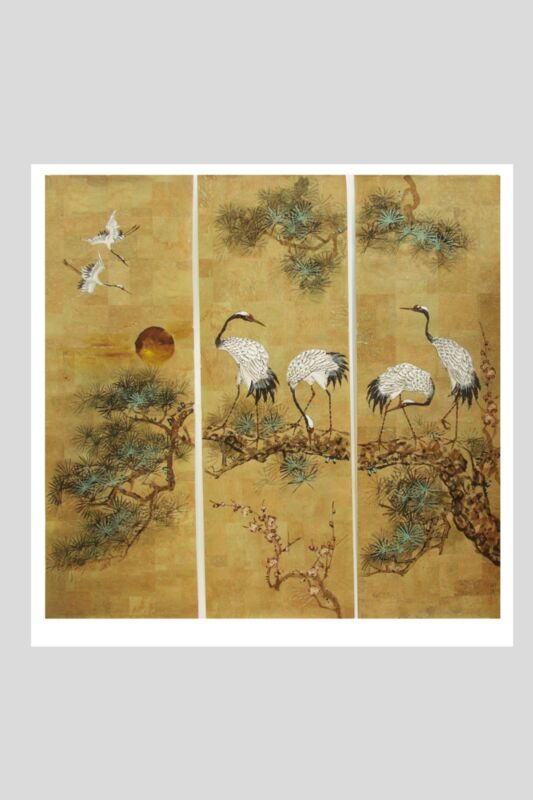 Vintage Chinese Painting on Natural Cork Wall Paper