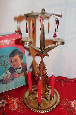 Engelsgeläut Weihnachtsglockenspiel Blechpyramide DDR OVP und Kerzen