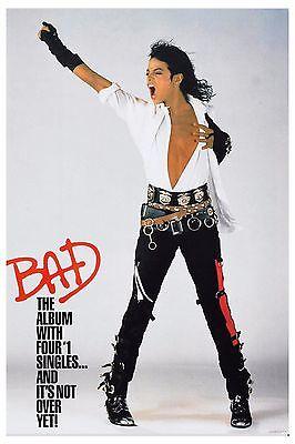 King of POP: Michael Jackson * BAD * Promotional Poster Circa 1987