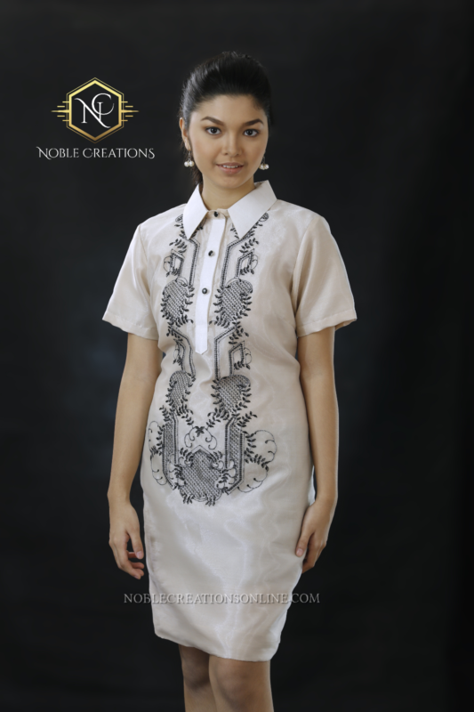 d6a8922c15 Filipiniana Embroidered Barong Silk Dress Philippines Terno Maria Clara -  Beige