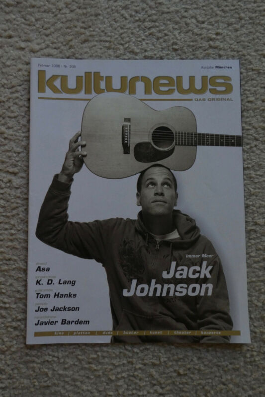 JACK JOHNSON 2008 GERMAN Music Mag. Front/Back Cover only-Great Pic. !