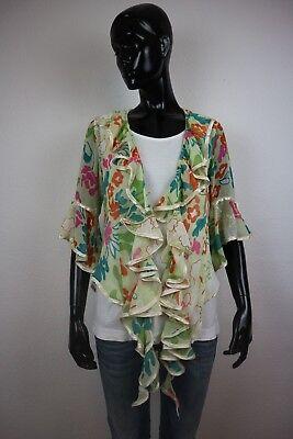 Karneval in Rio - Hippie Volant Damen Bluse Flower Gr. M bunt transparent (Karneval In Rio Kostümen)