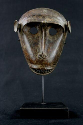 Art African - Small Mask Pasport Monkey Bronze Baoulé On Base 17,5 CMS