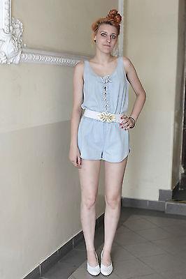 Damen Jeans Overall kurz short blau blue 80er True VINTAGE 90´s women Hosenkleid