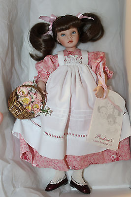 "Pauline Bjonness-Jacobsen Porcelain Doll ""Dawn"" LE Box, COA, Tag, Basket 12"""