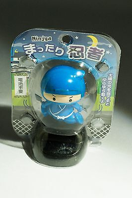 Blue Ninja solar powered swinging bobblehead Japanese Plastic wobble toy