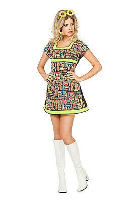 Minikleid Neon Popart Hippie Kleid Kostüm Damen Fasching Karneval 70er 80er (Pop Art Kleid)