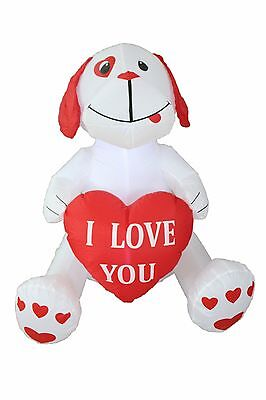 Valentine's Day Inflatable Puppy with Heart Indoor Outdoor Yard Lawn Decoration