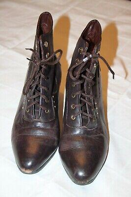 Mädchen Damen Stiefel Gardestiefel für Kostüm gefüttert vintage Leder braun