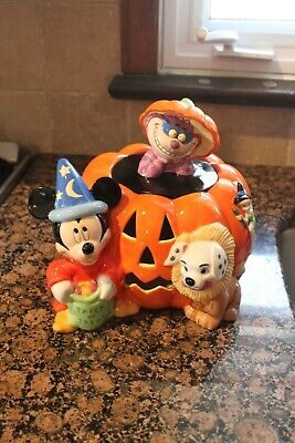 Disney Halloween Cookie Jar Fantasia Mickey Cheshire Cat Tinkerbell RARE (USED)