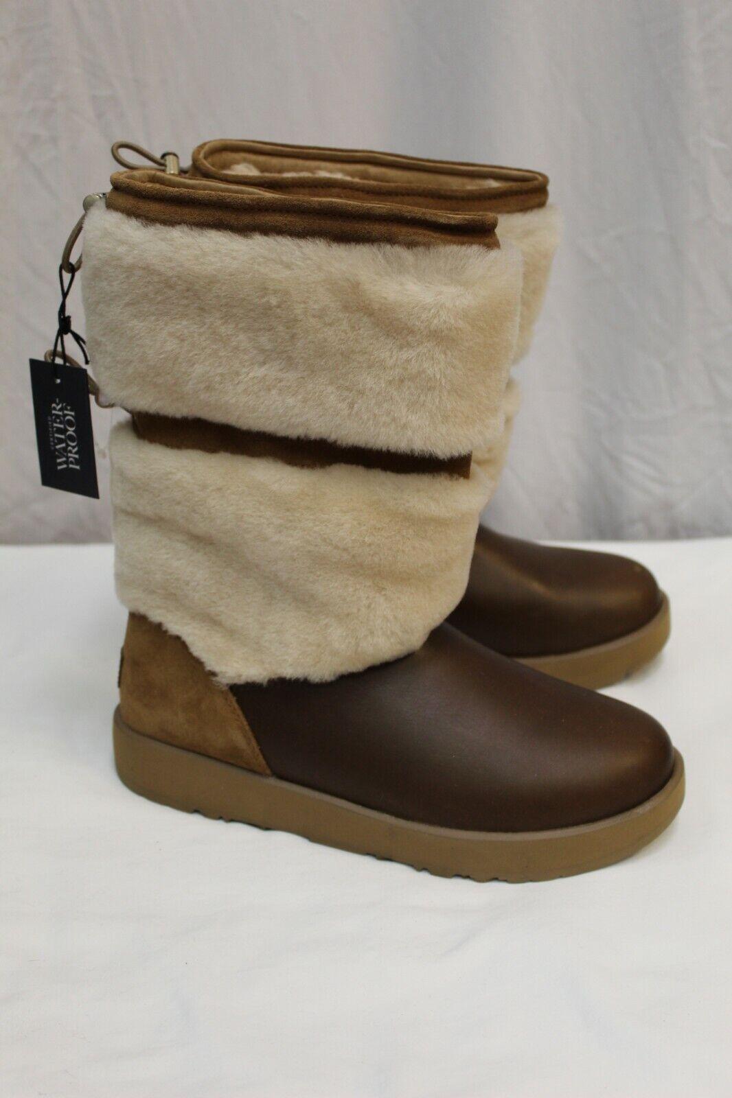 NWOB UGG Australia Waterproof Brown Shearling Lined Boots Sh