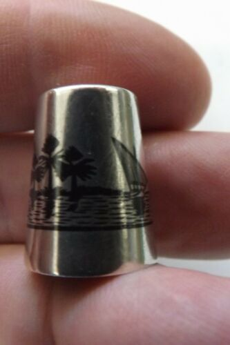 SOLID SILVER AND NIELLO MARSH ARAB THIMBLE BOATS ON THE NILE DESIGN (2902)