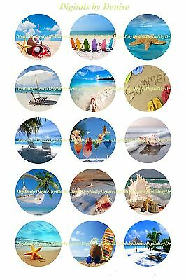 Beach Summer Seashore 1   Circles  Bottle Cap Images   2 45  5 50 Ships Free