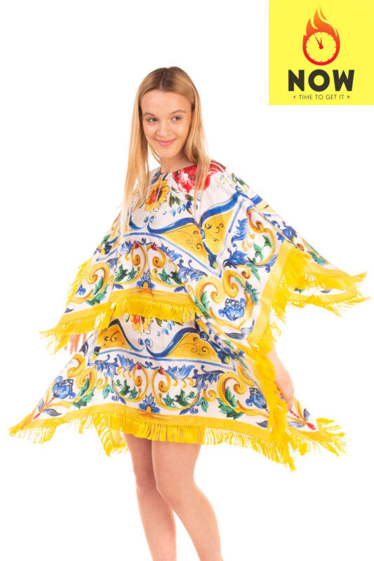 RRP€2420 DOLCE & GABBANA Kaftan Dress Size IT 46 / L Silk Blend Majolica Tassel