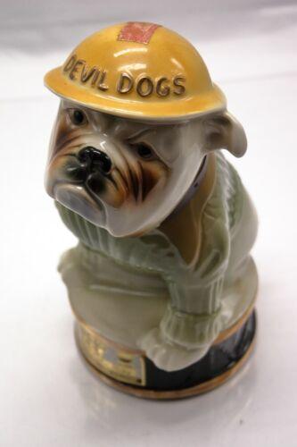 Jim Beam Bourbon Devil Dogs USMC Bulldog Dog Mascot 1979 Decanter MINT!