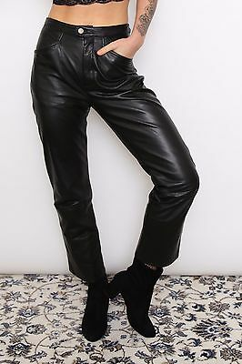 x 5 Wholesale/Job Lot Vintage Womens Black Leather Trousers Pants Clothes