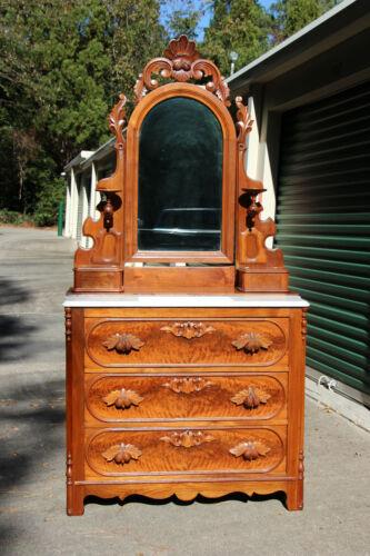 Fancy Walnut Victorian Marble Top Dresser Fruit & Nut Pulls ~ Ca.1870