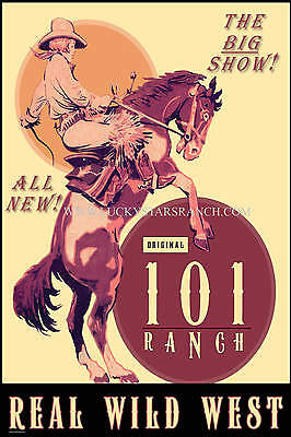 101 Ranch Cowgirl - Ponca City, OK   -  VINTAGE RODEO POSTER